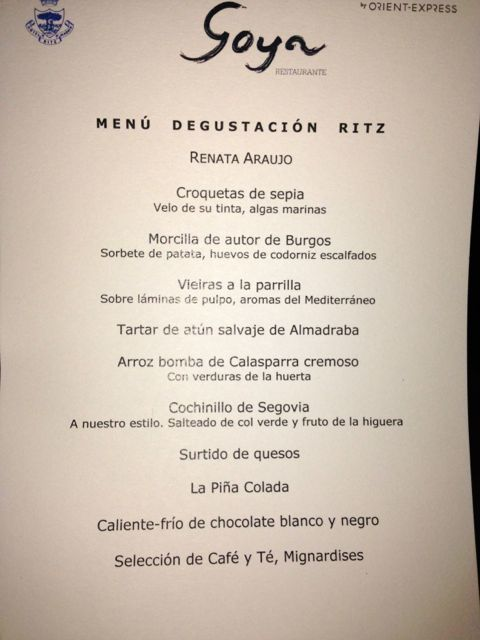 menu goya