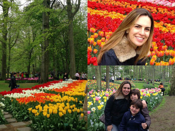 Mosaico de fotos com Patrícia as crianças no Keukenhof em Lisse, Holanda.
