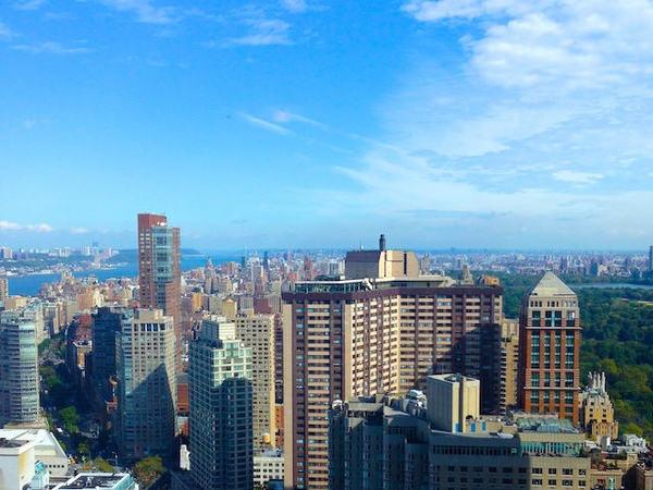 Vista aérea da cidade de Nova Iorque com o central parque à direita