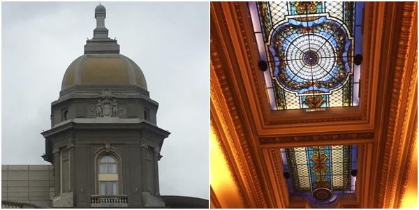 A cúpula e os vitrais do hotel