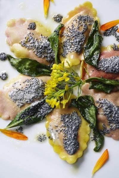 Raviólis de beterraba e ricota com sementes de papoula, manteiga e sálvia