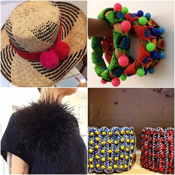 Chapéus, pulseiras e pompons