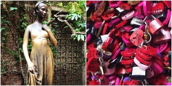 A estátua de Julieta e os cadeados que representam o amor