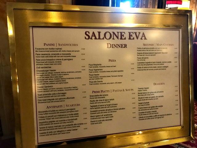 Menu do Salone Eva