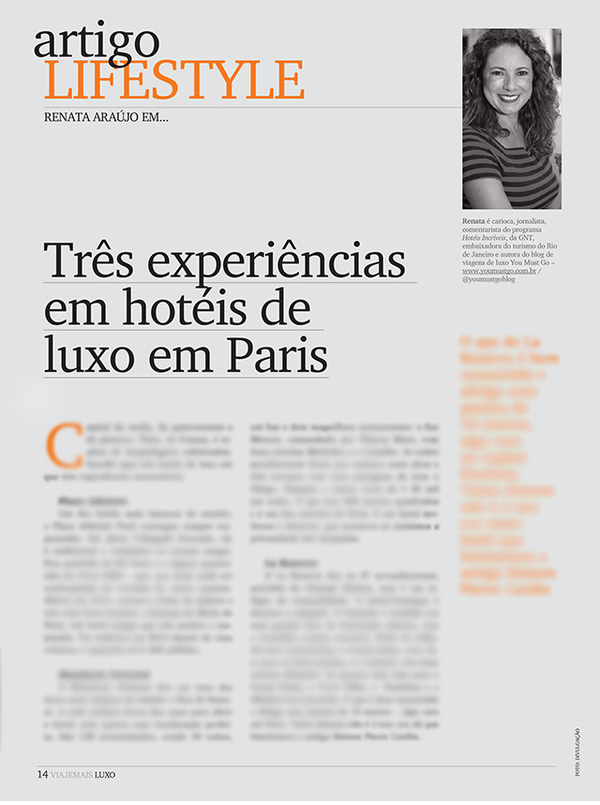You Must Go e Revista Viaje Mais Luxo