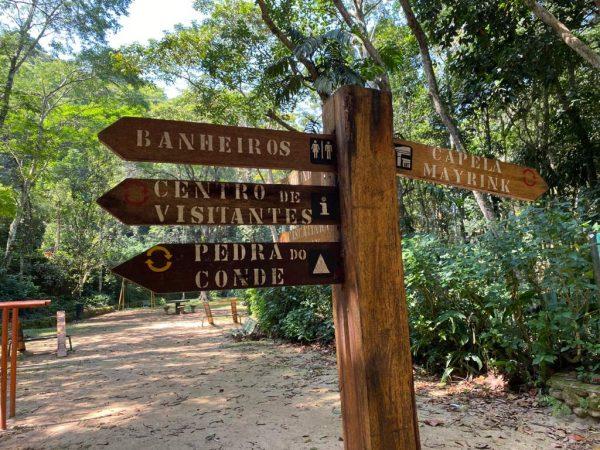 Placas para indicar o caminho no Parque Nacional da Tijuca