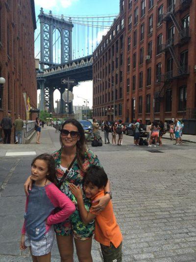 Ana Matoso com os filhos em NYC