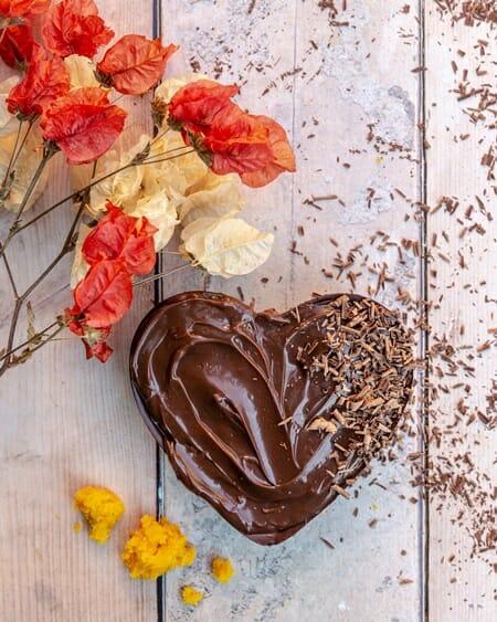 Coração bolo de cenoura- dica de presentes gourmet